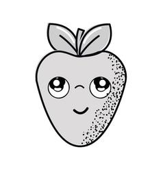 Hand drawn kawaii nice thinking strawberry icon vector