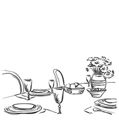 Holiday dinner with flowers vector