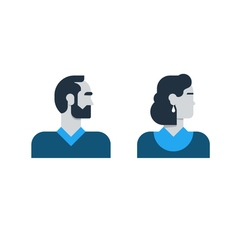 Man woman side view halfe face head clerk service vector image