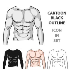 muscular torso icon in cartoon style isolated on vector image