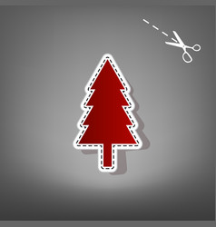New year tree sign red icon with for vector