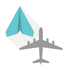 Paper plane real shadow vector
