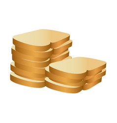 Realistic picture stack slices bread bakery food vector