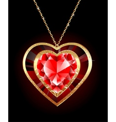 Ruby heart on a gold chain vector
