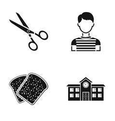 Scissors boy and other web icon in black style vector