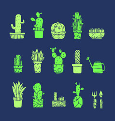 Set of fancy cactus plants vector