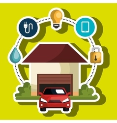 Smart home with menu settings isolated icon vector