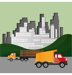 truck with city backbround image vector image