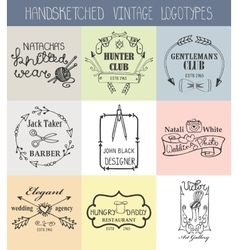 Vintage logotypes setDoodle hand drawn sketchy vector image vector image
