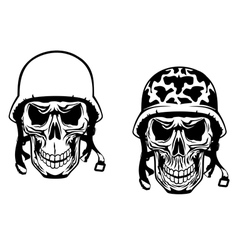 Warrior and pilot skulls in military helmets vector image vector image