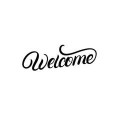 Welcome hand written lettering vector