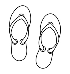 Flip flop sandals icon outline style vector