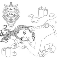 stone massage line art vector image