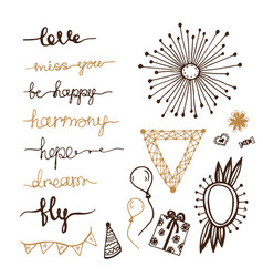 Doodles decor elements hanwritten lettering set vector