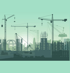 tower cranes on construction site buildings under vector image