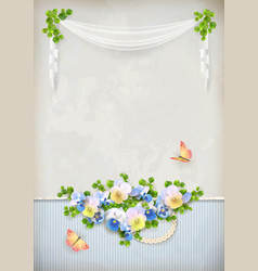 Shabby chic romantic flower vintage background vector