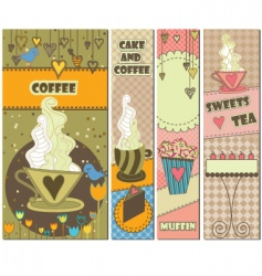 Sweet dessert and coffee banners vector