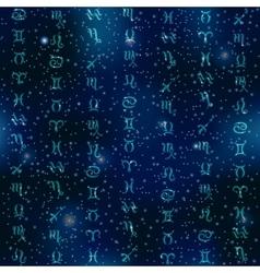 Zodiac symbols on space background vector image