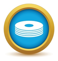 Gold disk icon vector image