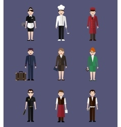 Hotel staff flay people vector