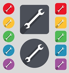 Wrench icon sign a set of 12 colored buttons and a vector