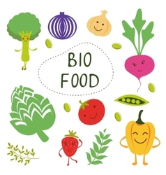 Colorful organic food collection vector