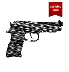 Gun isolated with pen effect vector