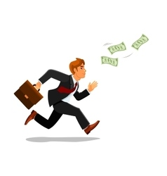 Businessman with suitcase chase money vector