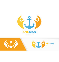 Anchor and people logo combination marine vector