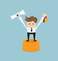 Businessman success with gold medal on coins stack vector