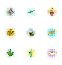 Cannabis icons set pop-art style vector