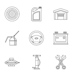 Car repairs icons set outline style vector
