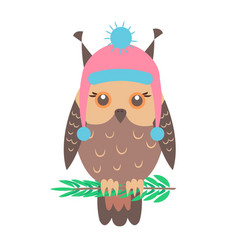 closeup of funny owl with hat vector image