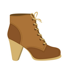 Color silhouette of brown leather high heel shoe vector