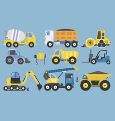 Construction equipment and machinery with trucks vector