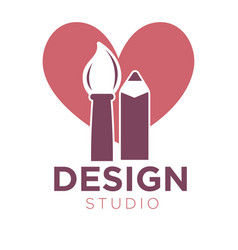 Creative design studio logotype with brush and vector