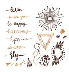 doodles decor elements hanwritten lettering set vector image