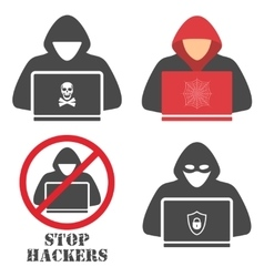 Hacker iconshacker with laptop hacking the vector