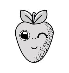 Hand drawn kawaii nice funny strawberry icon vector