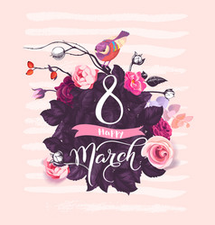happy 8 march handwritten lettering against vector image vector image
