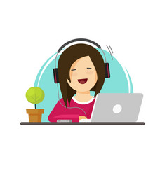 happy woman working on computer vector image vector image