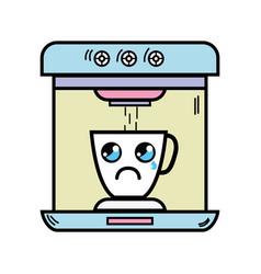 Kawaii cute crying coffee maker technology vector