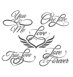 Love lettering in tattoo style vector