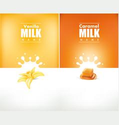 milky splash with vanilla flower and caramel vector image
