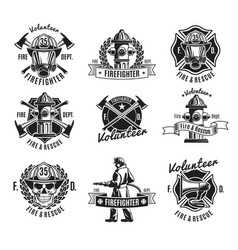 monochrome firefighting labels set vector image vector image