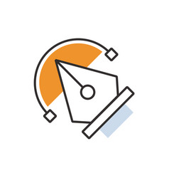 Orange pen tool icon vector