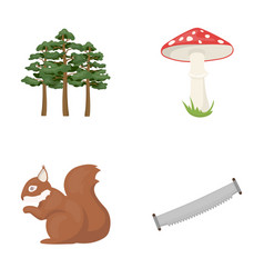 Pine poisonous mushroom tree squirrel saw vector