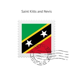 Saint kitts and nevis flag postage stamp vector