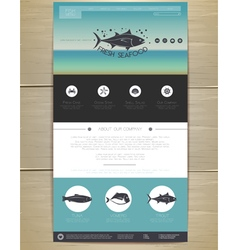 Seafood concept web site design vector