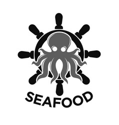 seafood logo with helm and octopus isolated on vector image vector image